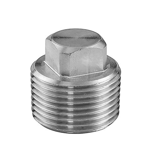 (Avanty Stainless Steel 304 Forged Pipe Fitting, Solid Square Head Plug, 1/4