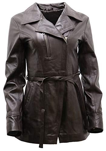 Women's Brown Nappa Leather Long Biker Jacket with Belt ()
