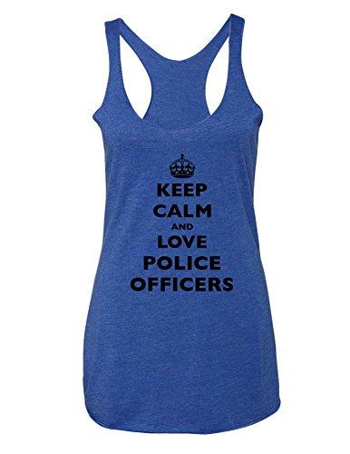 Keep Calm And Love Police Officers - Super Soft Tri-Blend Racerback Tank (Medium, Vintage Royal)