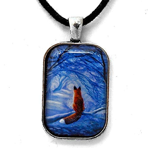 Red Fox Pendant Blue Forest Trees Spirit Animal Necklace Handmade Jewelry for Men or - Animal Jewelry Handmade