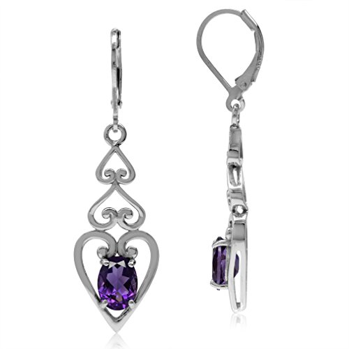 2.28ct. Natural African Amethyst 925 Sterling Silver 3-Heart Victorian Style Leverback Earrings (Victorian Style Amethyst Earrings)