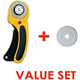 The maximum sharpness / Made in Japan /OLFA 45 mm High-quality tungsten steel Ergonomic Rotary Cutter & 45mm Rotary Blade Refill, 1-Pack Value Set