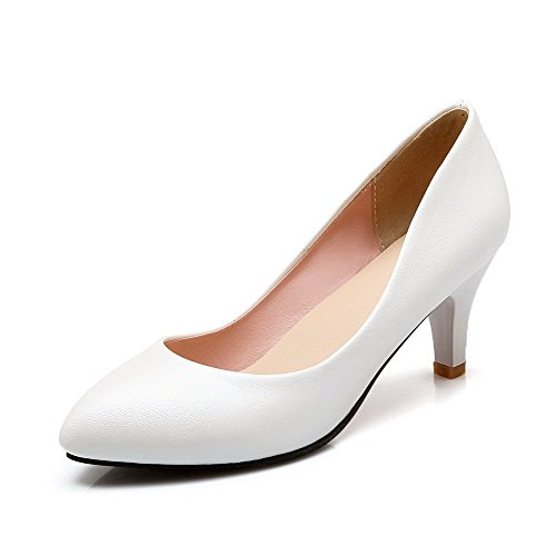 Pumps Women's Pointed Kitten on Material White Pull Heels Solid Closed WeenFashion Shoes Toe Soft Pn8wdxTZZq