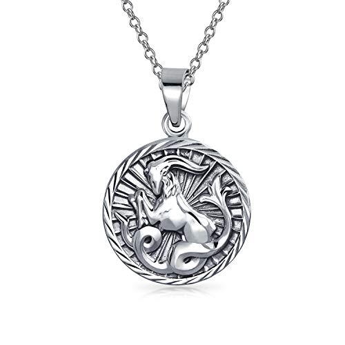 Capricorn Zodiac Sign Astrology Horoscope Round Medallion Pendant For Men Women Necklace Antiqued Sterling Silver