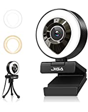 $54 » Streaming Webcam with Dual Microphone 1080P Adjustable Right Light Pro Web Carmera Advanced Auto-focus with Tripod JIGA Gaming Webcam for Xbox Facebook YouTube Streamer Conferencing (White/Warm Light)