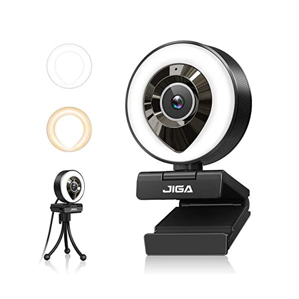 1080P HD Webcam with Microphone and Ring Light 360 Rotation Privacy Protection Adjustable Brightness