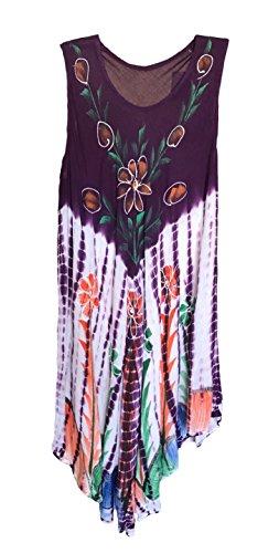 Women's Plus Size Scoop Neck Hand-painted designs CAFTAN Dress/Vintage PATCHED Floral/Geometric Printed Mesh Cotton Vibrant Summer Dress Cover-Ups. Fits Most L,XL,XXL (Mesh Floral Design)
