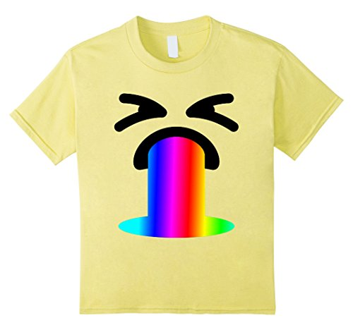 Kids Funny Rainbow Throw Up Vomit Emoji Face Gift Shirt for Party 8 (Halloween Costumes Ideas College Guys)