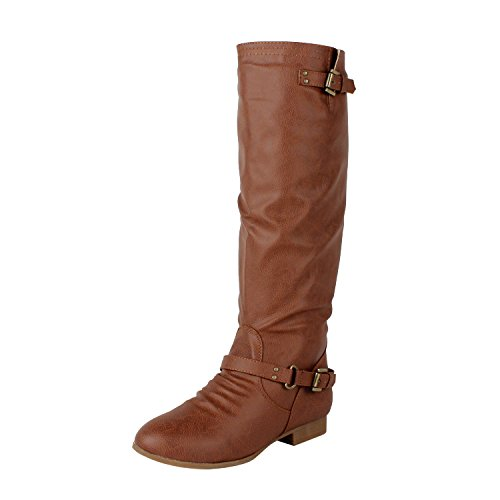 Top Moda Women's COCO 1 Knee High Riding Boot, Premium Tan Pu (10 B(M) US)