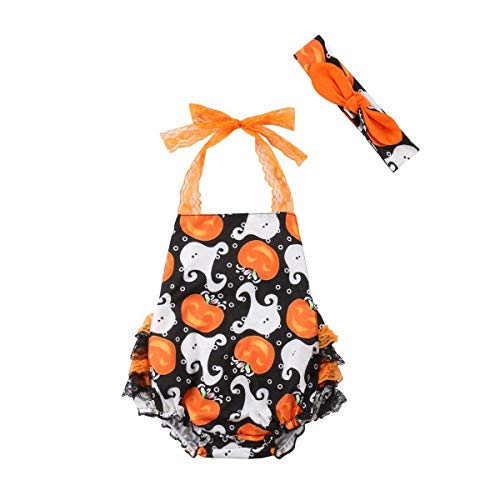 Wiswell Newborn Baby Girls Halloween Romper Ghost Pumpkin Lace Halter Bodysuit with Bowknot Headband 0-24months (Multi, 80/6-12months) -