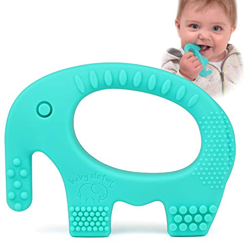 BPA Free Silicone - Easy To Hold, Soft, Bendable, Highly Effective Elephant Teether, Best for Freezer, Cool Girl Or Boy Infant Newborn Toddler 3 5 6 7 8 12 Months 1 Year Old Gifts ()