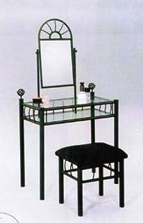 2pc Vanity Table Mirror U0026 Chair Set Black Finish