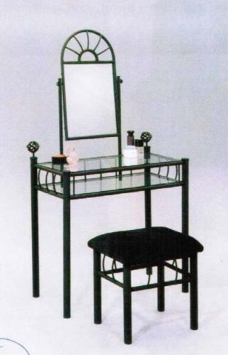 Sunburst Wrought Iron Style Glass 2Pc Vanity with Bench by Acme Furniture