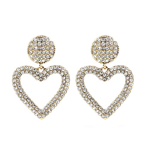 Colorful Crystal Open Heart Statement Drop Earrings KELMALL COLLECTION