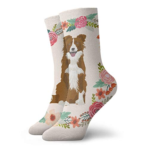 Border Collie Red Merle Wreath Florals Dog FabricPainting Art Printed Funny Novelty Animal Casual Cotton Crew Socks 11.8inch