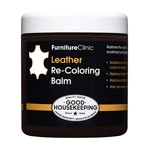 Furniture Clinic Leather Recoloring Balm (8.5 fl oz) - Leather Color Restorer for Furniture, Repair Leather Color on Faded & Scratched Leather Couches - 16 Colors of Leather Repair Cream (White)