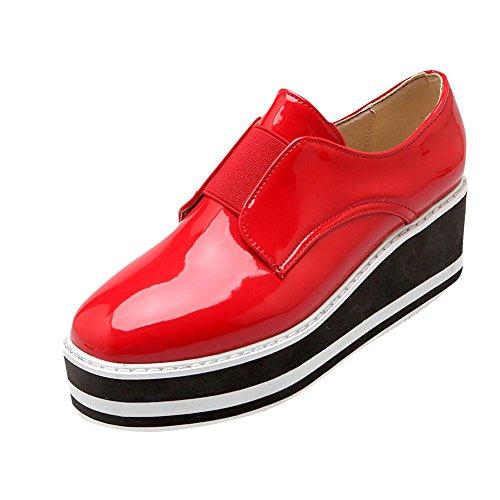 MissSaSa Damen neutral und simpel geschlossen keilabsatz Plateau Lackleder runde Spitze Pumps Rot
