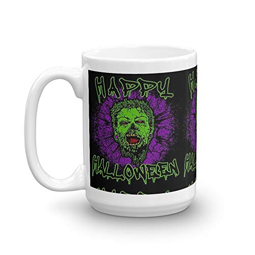 Zombie Purple Grunge Splatter Happy Halloween 15 Oz White Ceramic
