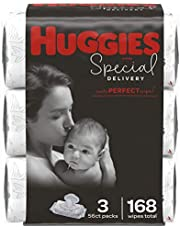 Baby Wipes, Huggies Special Delivery, UNSCENTED Hypoallergenic, 3 Flip-Top Packs, 168 Count