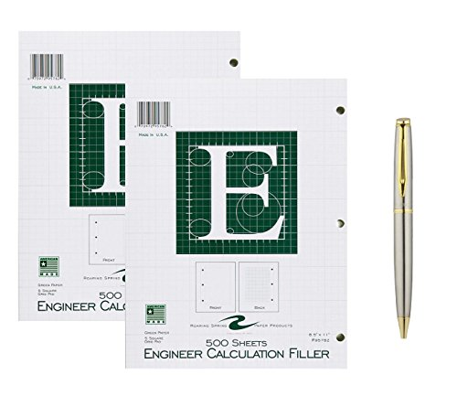 Roaring Spring Engineering Filler, 8.5 x 11 Inches, Green, 500 Sheets, 2-Pack Bundled with a Plexon Rollerball Pen
