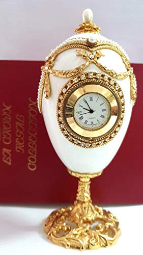 Faberge Egg Authentic goose egg Faberge Jewelry box Vintage Clock Faberge egg Faberge coronation egg handcrafted by master jewellers with simulated pearls & diamonds embellished with 24kt gold