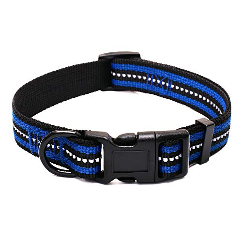 "Mile High Life Night Reflective Double Bands Nylon Dog Collar (Blue, Small Neck 12""-17"" -20 lb)"