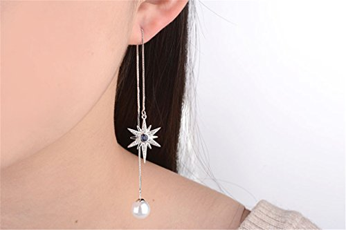 Wiftly Femme Fille boucles d'oreilles en Argent 925 et Zirconium Longue de la pearl hexagramme de Ligne de l'oreille Tassel