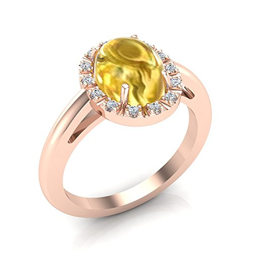 November Birthstone Cabochon Oval Citrine Yellow Diamond Ring 14K Rose Gold 2.10 Carat Total Weight (Ring Size 9)