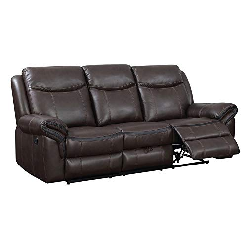 Benzara BM182862 Upholstered Recliner Sofa with Drop Down Console and Hidden Storage
