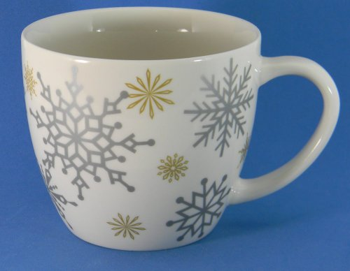 Starbucks Silver Gold Snowflakes Mug 16 oz. 2009 Winter Holiday Christmas
