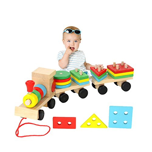 - Habudda Wooden Stacking Train Push Pull Toy Sorting & Stacking Wood Block Train Toy For Toddlers Stacking Games Shape Color Recognition Geometric Stacker Chunky Puzzle Toy
