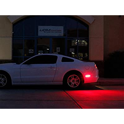iJDMTOY Clear Lens Red Full LED Rear Side Marker Light Kit Compatible with 2005-09 Ford Mustang, Powered by 54-SMD LED, Replace OEM Back Sidemarker Lamps: Automotive