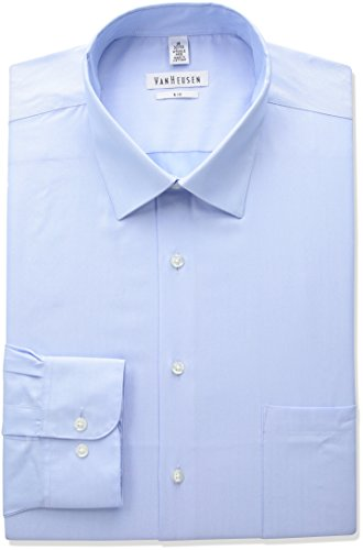 Van Heusen Men's Big and Tall Herringbone Fit Solid Spread Collar Dress Shirt, Blue Cloud, 19