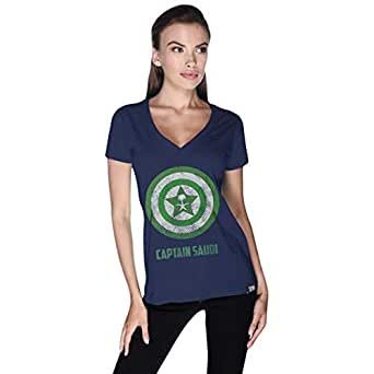 Creo Blue Cotton V Neck T-Shirt For Women
