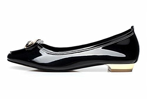 Latasa Moda Para Mujer Casual Metal Decorado Con Punta Cuadrada Comfort Pisos Zapatos Negro