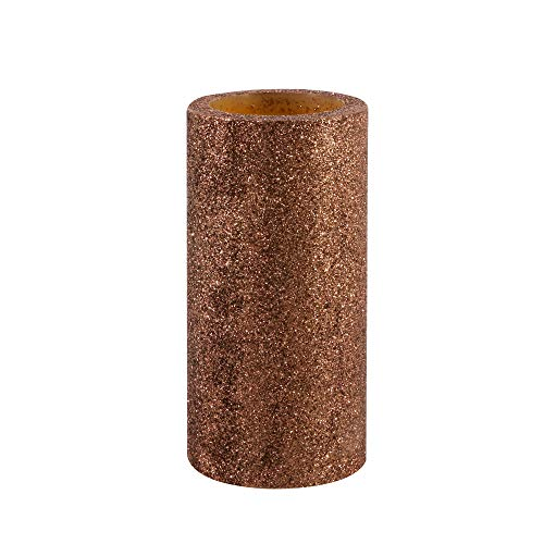 GiveU Flameless Led Candle with Timer, Battery Operated Real Wax Pillar Candle with Glitter for Christmas and Thanksgiving Decoration, 3x6 Inch(Baked Brown Sugar)