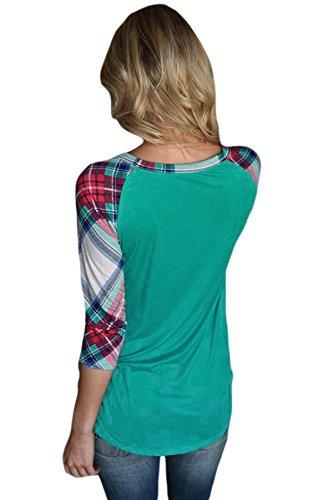 Neuf éclatantes Plaid manches raglan Vert Pull Chemisier de soirée pour femme Tenue décontractée d'été Taille UK 10EU 38