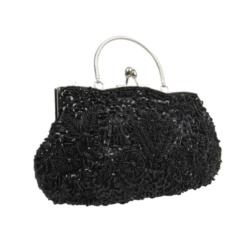 BMC Black Beaded Sequin Design Metal Frame Kissing Lock Clasp Satin Interior Evening Clutch - Exuding Eloquences Collection ()