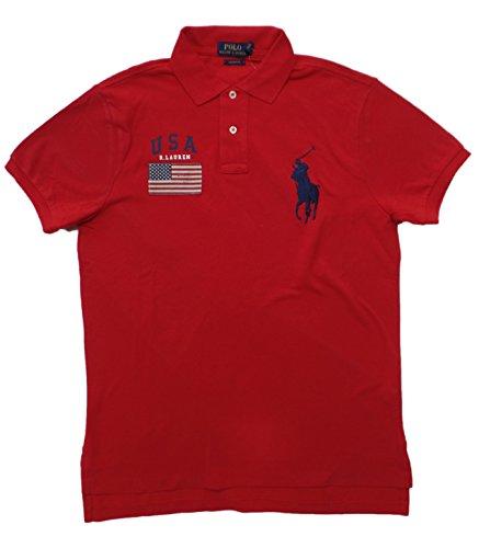Red Big Pony - Polo Ralph Lauren Men's Custom Fit Big Pony USA Flag Polo Shirt (L, RL 2000 Red)