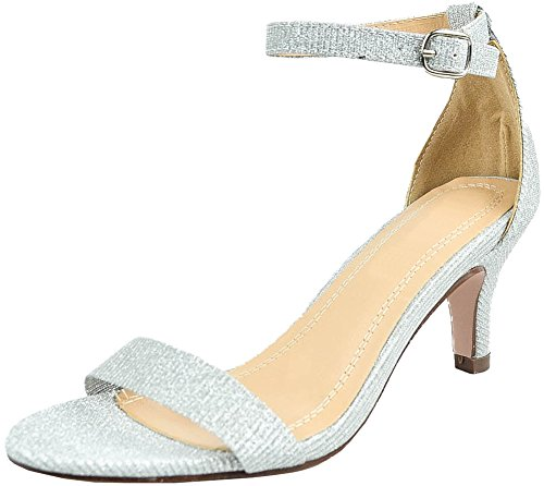 Cambridge Select Women's Open Toe Single Band Ankle Strappy Mid Heel Dress Sandal (7 B(M) US, Silver Glitter) (Sandal Silver Dress Strappy)