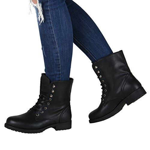 Stiefelparadies Damen Schnürstiefeletten mit Blockabsatz Profilsohle Flandell Schwarz