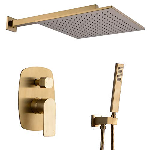 (TRUSTMI Shower Faucet 12 inch Bathroom Luxury Rain Mixer Combo Set Wall Mounted Rainfall Shower Head System Brushed Gold, (Contain Faucet Rough-in Valve Body and Trim))