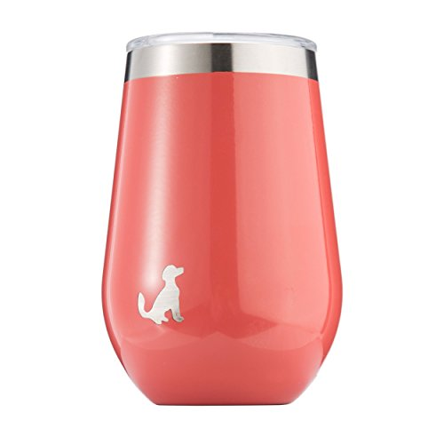 Pittsford Outfitters 12oz Wine Tumbler With Lid   18/8 Stainless Steel, Double Walled, Vacuum Insulated Stemless Portable Wine Glasses. Great for Travel, Outdoors, Coffee too. (Coral)