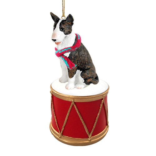 Little Drummer Bull Terrier Brindle Christmas Ornament - Hand Painted - Delightful by Animal Den