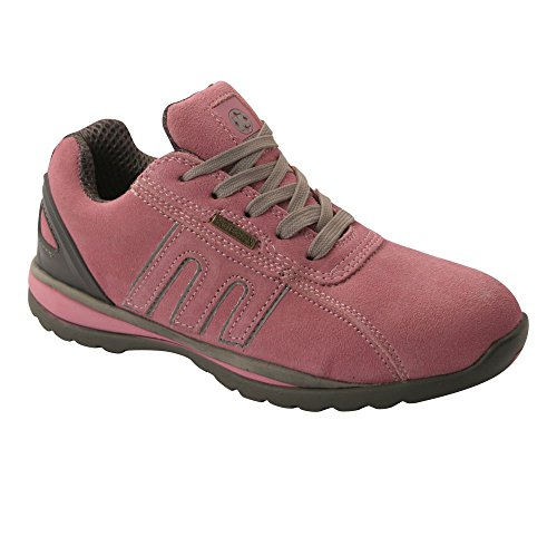 LADIES SAFETY TRAINERS SHOES BOOTS WORK STEEL TOE CAP ANKLE SIZE 3-8UK WOMENS Pink/Grey loj7EYGy