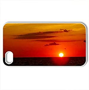 SINKING SUN - Case Cover for iPhone 4 and 4s (Sunsets Series, Watercolor style, White)