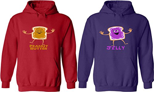 Peanut Butter & Jelly - Matching Couple Hoodies - His and Her Love (Fifties Outfit Ideas)