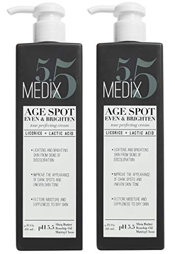 Medix 5.5 Age Spot Cream for body and face. Even & Brighten Tone Perfecting Cream with Shea Butter, Rosehip oil and Matrixyl 3000. Large 9oz bottle with pump. (Two - 9oz)