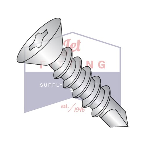 1/4-14X1 Self-Drilling Screws | Phillips | Flat Head | 18-8 Stainless Steel (QUANTITY: 2000) by Jet Fitting & Supply Corp