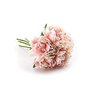 Gooding life Artificial Flower Hydrangea 5 Heads Peony Bridal Bouquet Silk Flower for Wedding Valentine's Day Party Home DIY Decoration,6 3